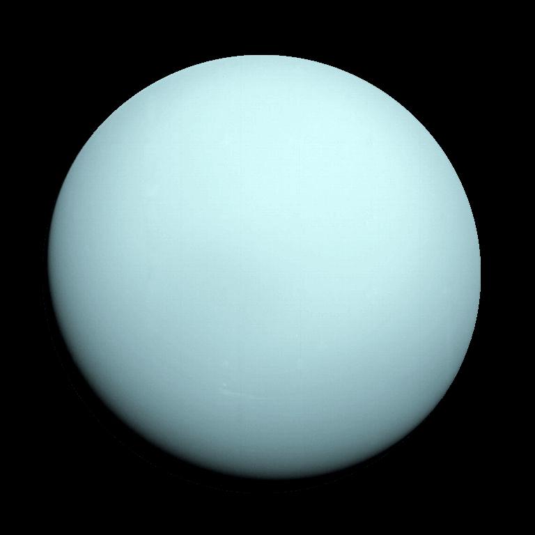 Фотография планеты Уран сделанная космическим аппаратом «Вояджер-2» в 1986