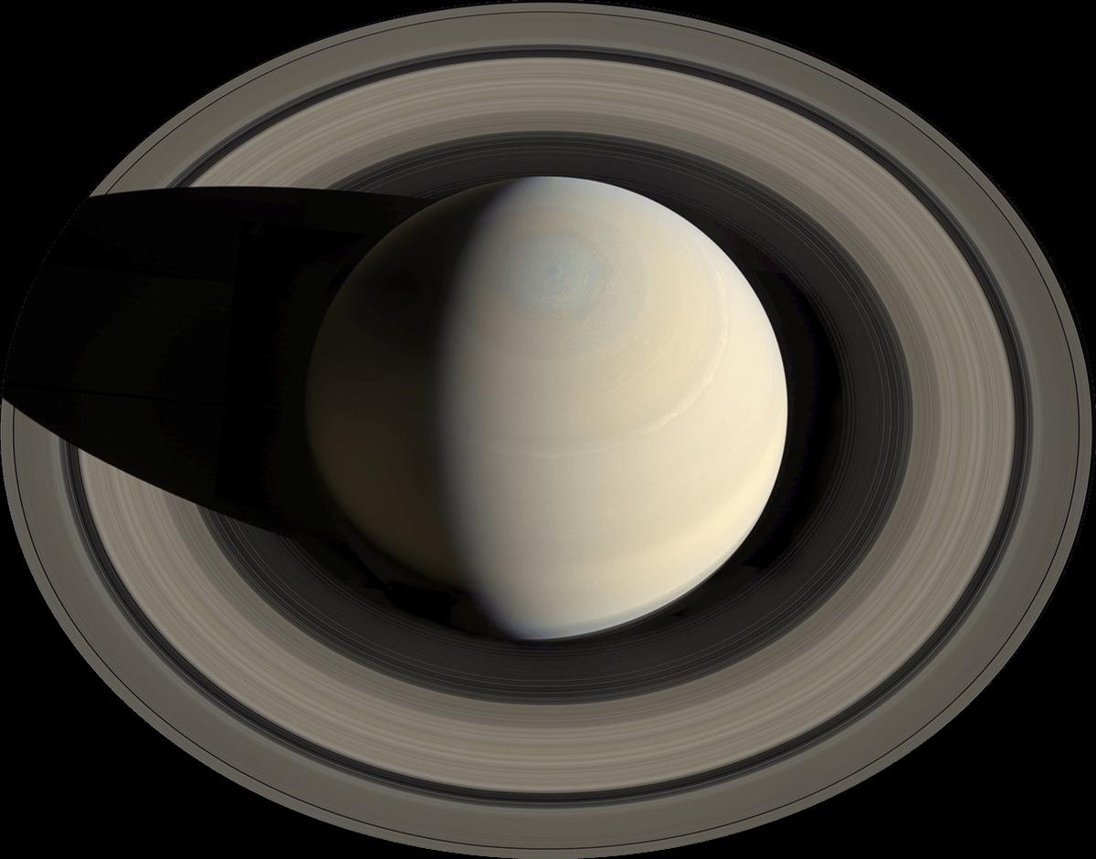Планета Сатурн, вид сверху