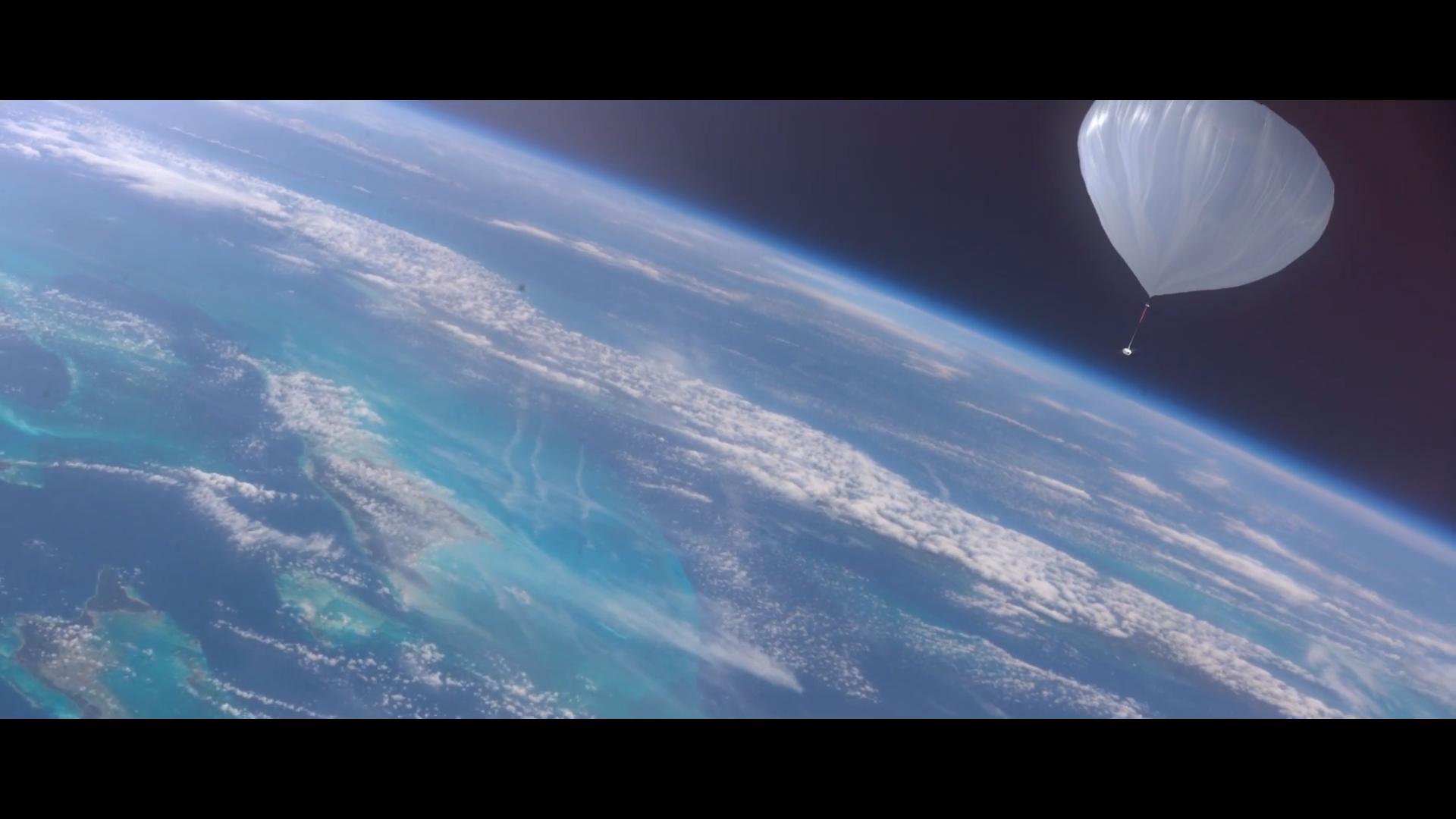 Капсула Bloon на фоне кривизны земной поверхности