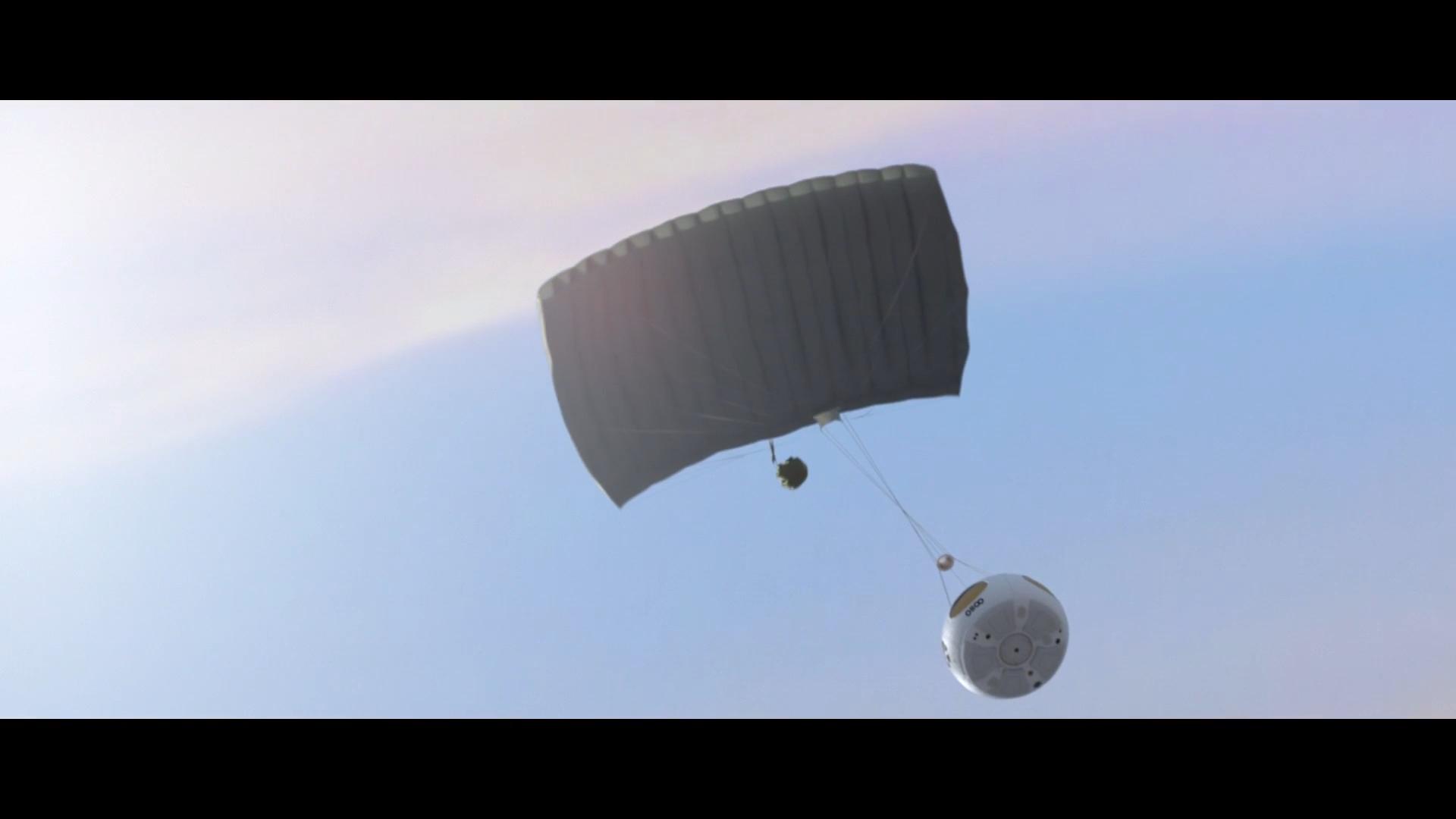 Приземление капсулы Bloon на парашюте
