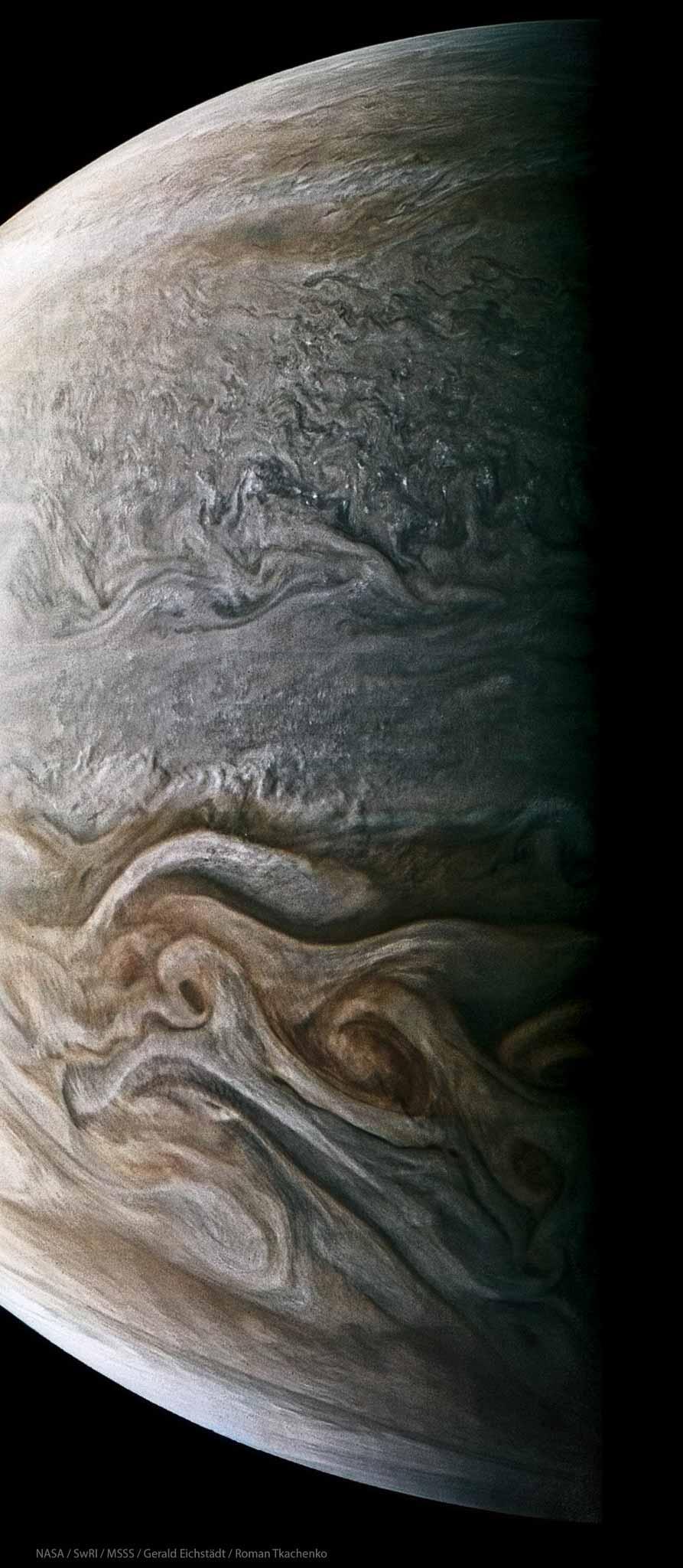 Композитная фотография южного экваториального пояса Юпитера