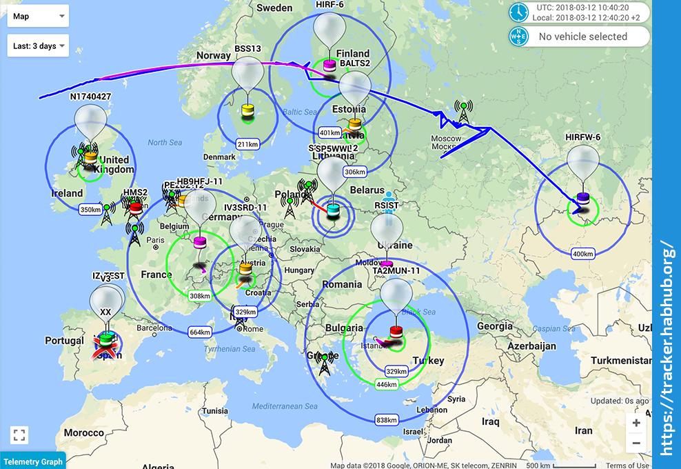 Карта Tracker.HabHub.org с активными обьектами