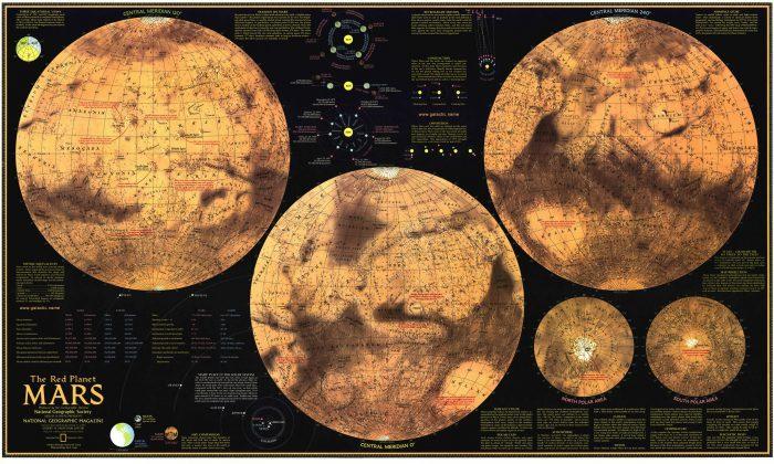 Карта планеты Марс от National Geographic. Нажмите на изображение, чтобы увеличить.